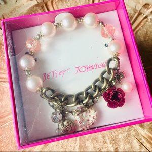 Betsey Johnson Pearls & Pink Charm Bracelet